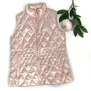 Lands End Pink Metallic Satin  Quilted Puffer Vest